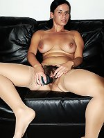 Rough masturbation with a big tits hairy brunette